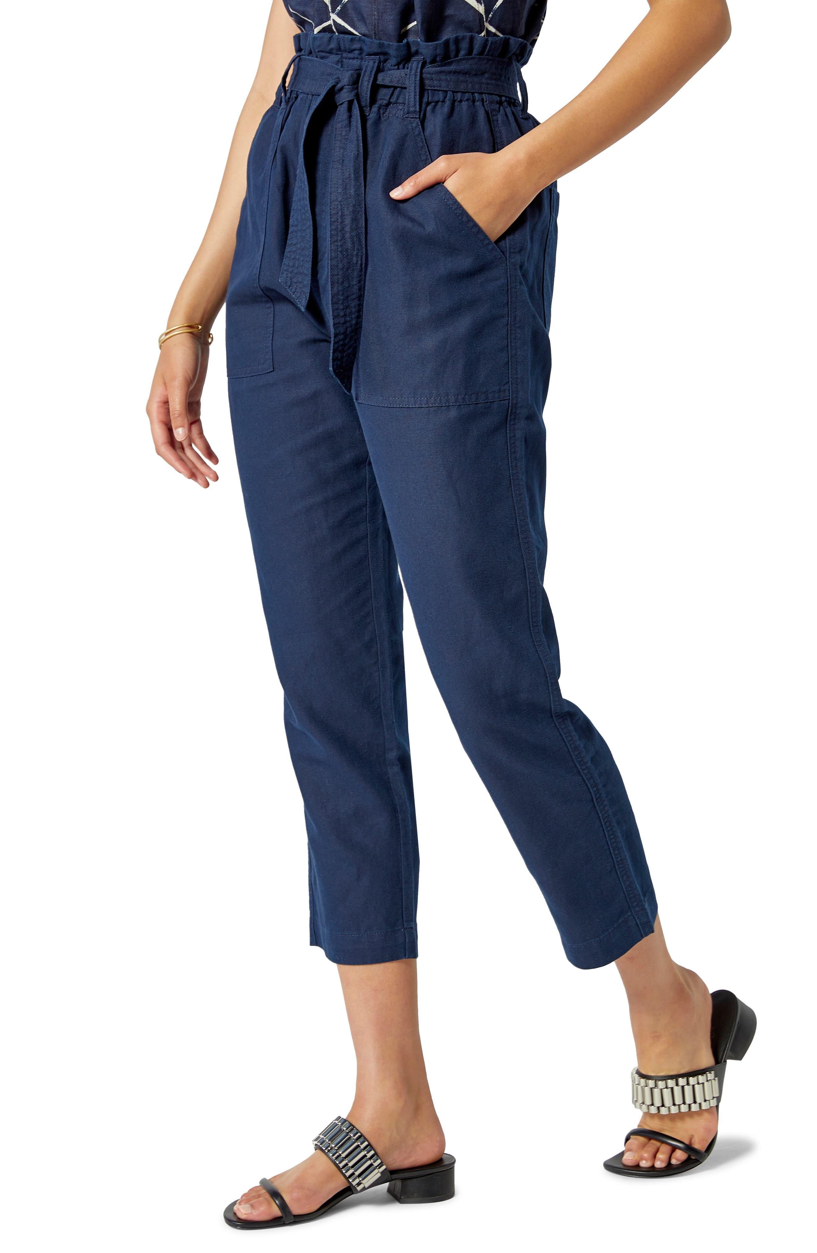 Lariel Paperbag Waist Cotton & Linen Pants