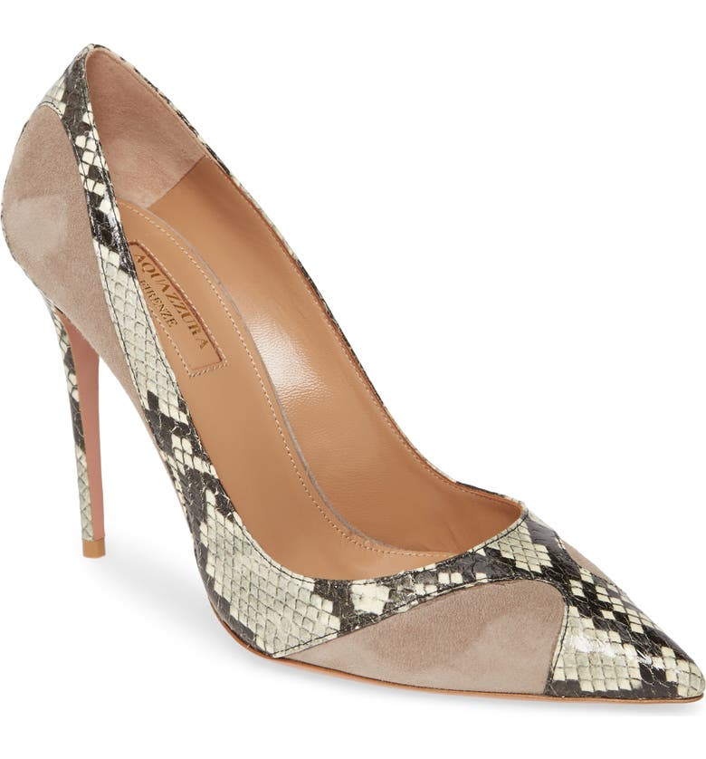 Satine Snakeskin Embossed Pump by Aquazzura