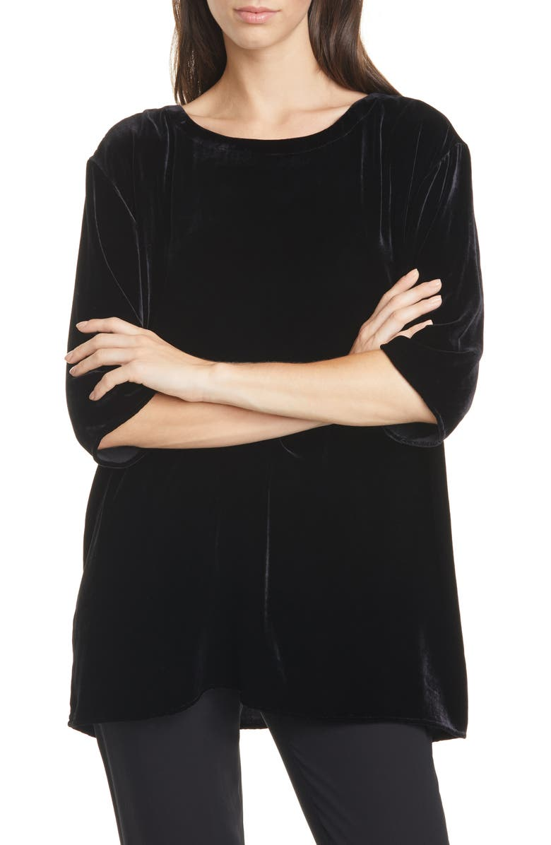 EILEEN FISHER Ballet Neck Boxy Top, Main, color, BLACK