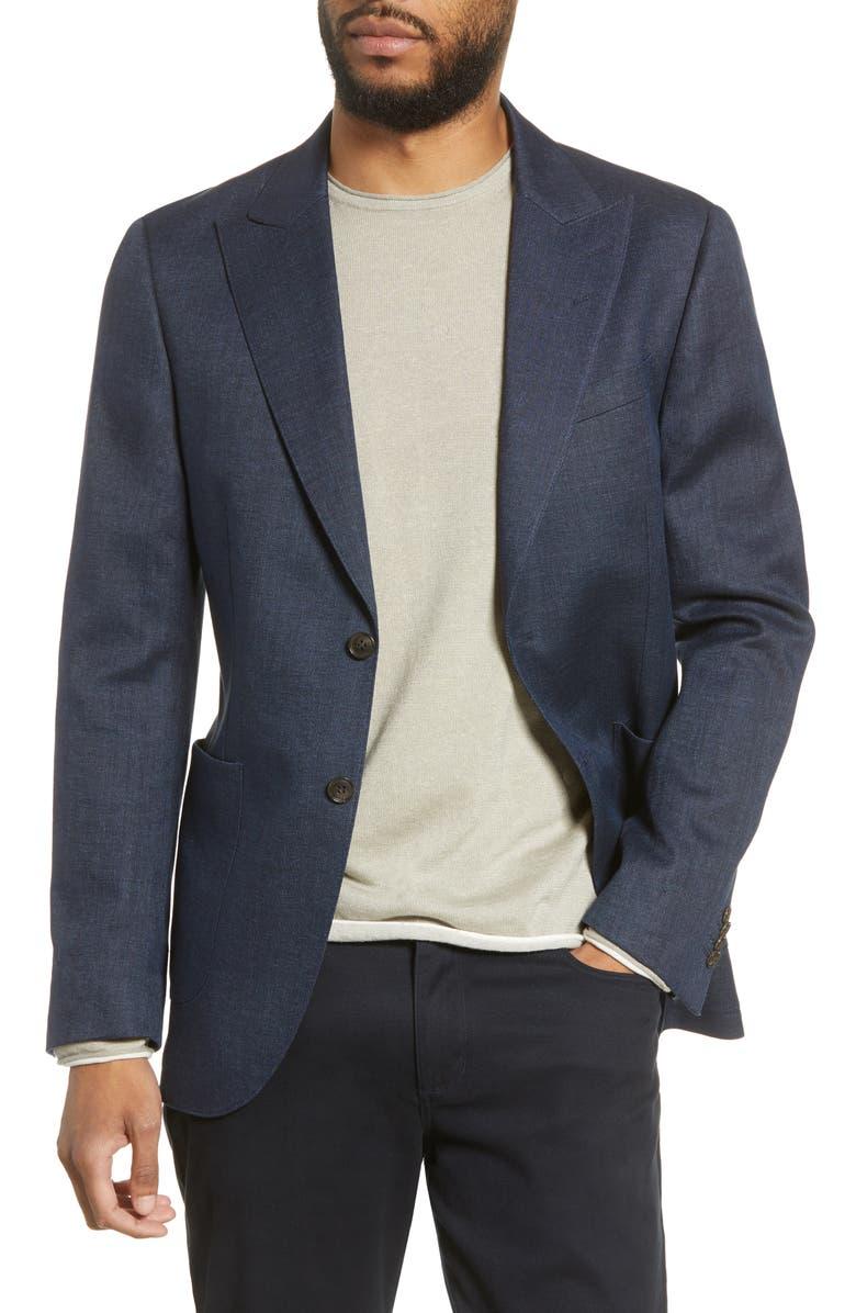 TIGER OF SWEDEN Trim Fit Solid Stretch Linen Blend Sport Coat, Main, color, SOFT BLUE