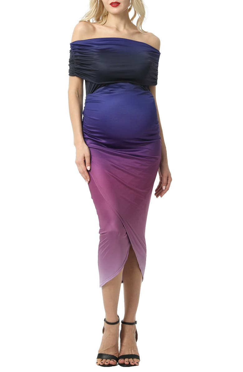 KIMI AND KAI Maya Ombré Convertible Off the Shoulder Maternity Midi Dress, Main, color, MULTICOLORED