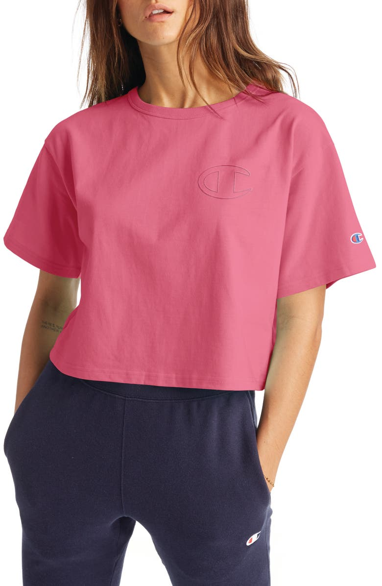 CHAMPION Heritage Crop T-Shirt, Main, color, MELON PUNCH PINK
