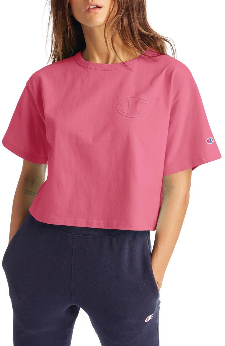 CHAMPION Heritage Crop T-Shirt, Main, color, MELON PUNCH PINK