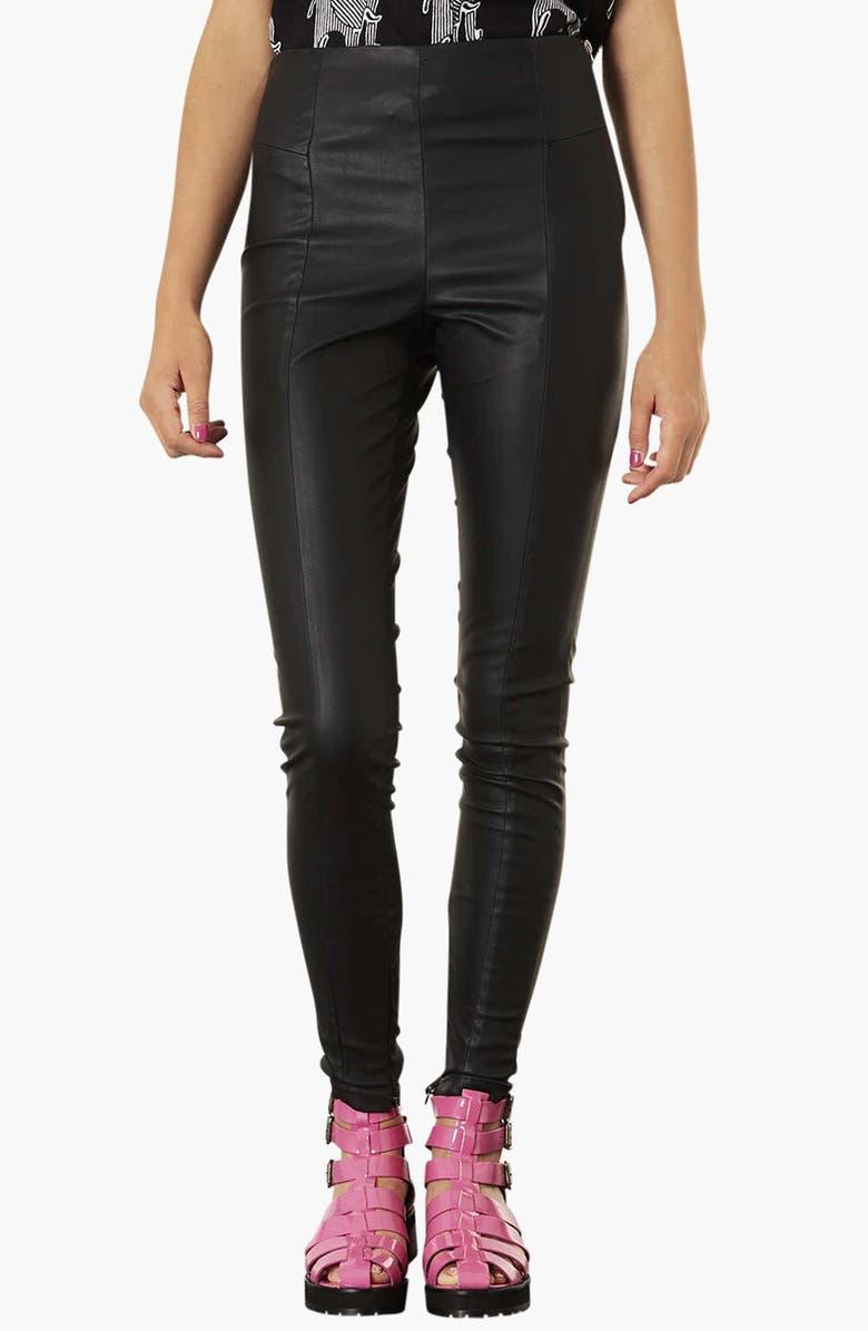TOPSHOP Faux Leather Seamed Leggings, Main, color, 001