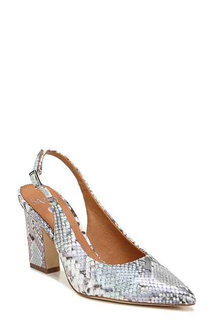 Image of SARTO BY FRANCO SARTO Sophie Leather Snakeskin Embossed Slingback Pump