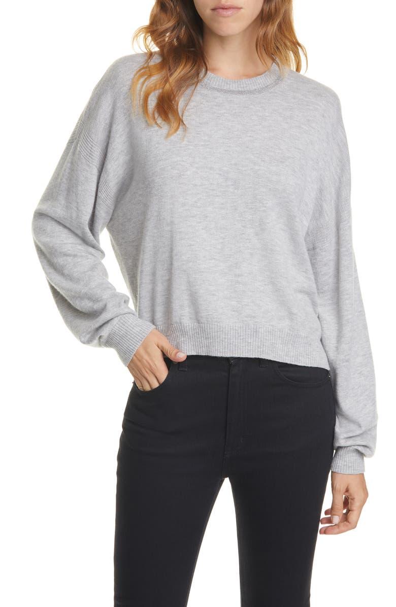 JOIE Jaren Metallic Neck Sweater, Main, color, SOFT HEATHER GREY