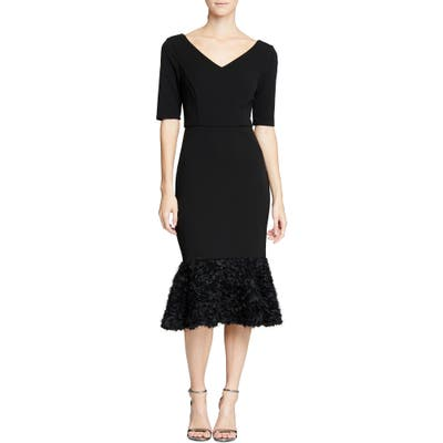 Halston Heritage Embellished Flare Hem Midi Dress, Black