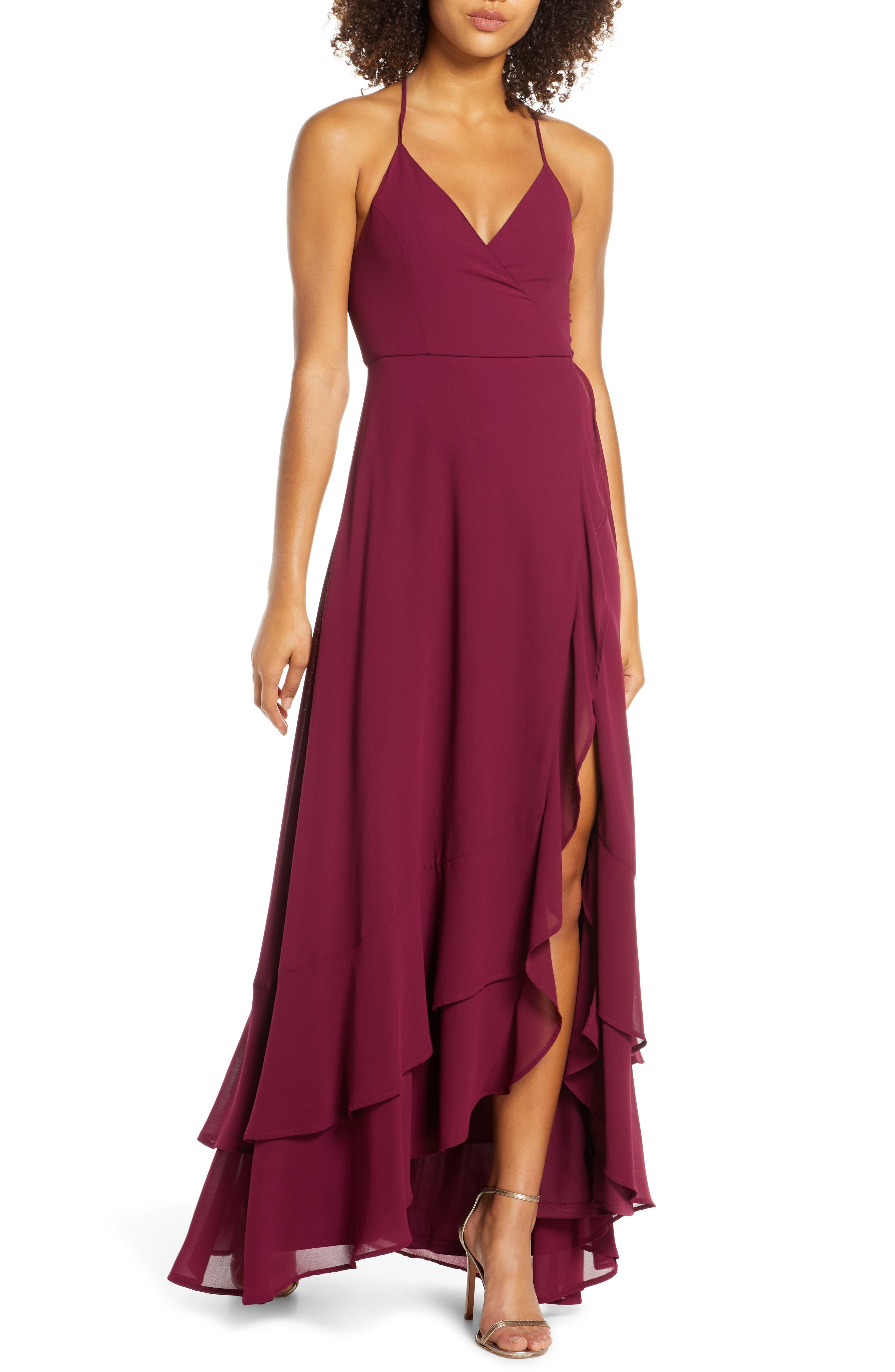 Lulus In Love Forever Lace-Up Back Chiffon Gown, Burgundy