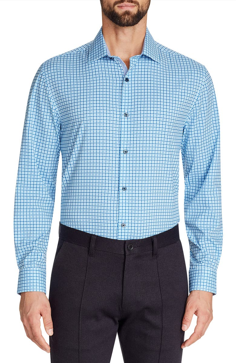 W.R.K Trim Fit Check Performance Stretch Dress Shirt, Main, color, BLUE