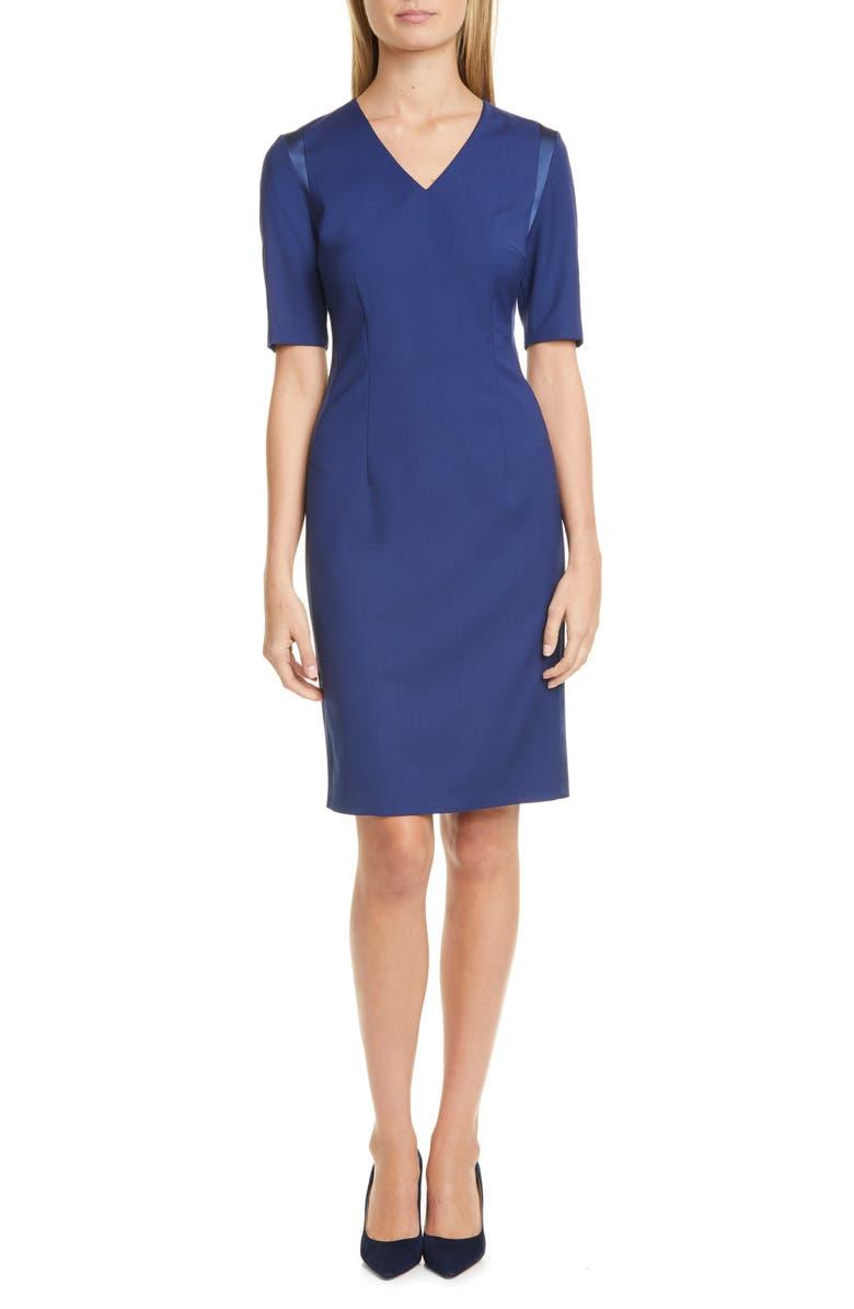 BOSS Datiso Stretch Wool Sheath Dress, Main, color, OCEAN