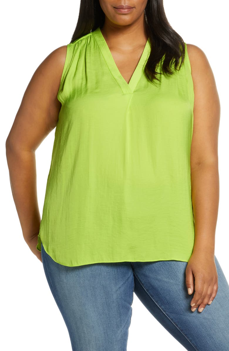 VINCE CAMUTO Rumple Satin Sleeveless Top, Main, color, LIME CHROME