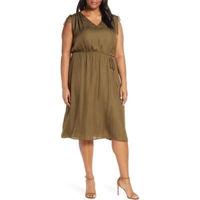 Plus Size Vince Camuto Tie Shoulder Dress, Green