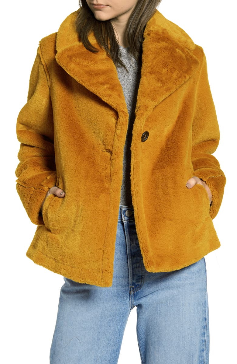 AVEC LES FILLES Notched Collar Faux Fur Coat, Main, color, 800