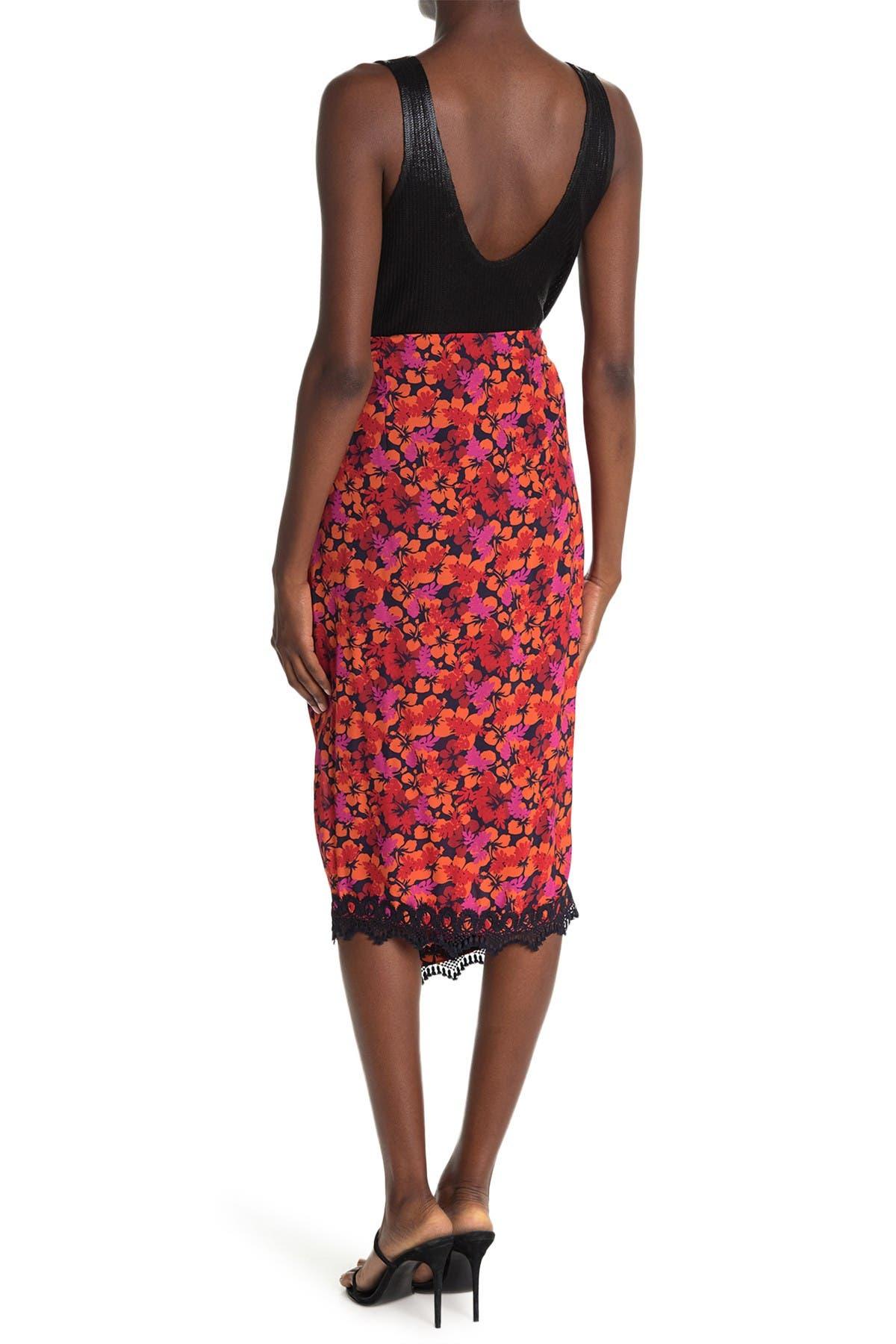 Image of DEREK LAM 10 CROSBY Liona Lace-Trim Printed Wrap Skirt