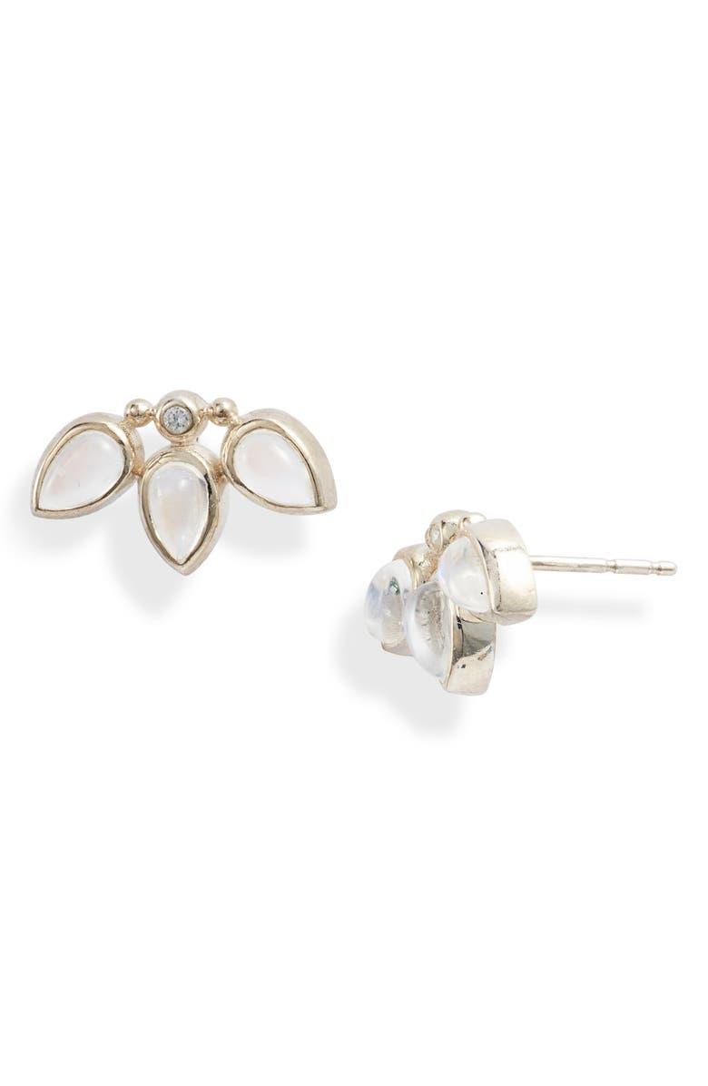 ANZIE Micro Bouquet White Sapphire Stud Earrings, Main, color, WHITE SAPPHIRE