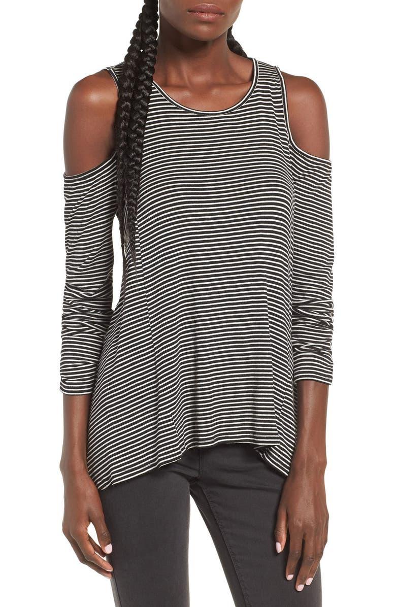 --- Stripe Cold Shoulder Top, Main, color, 001