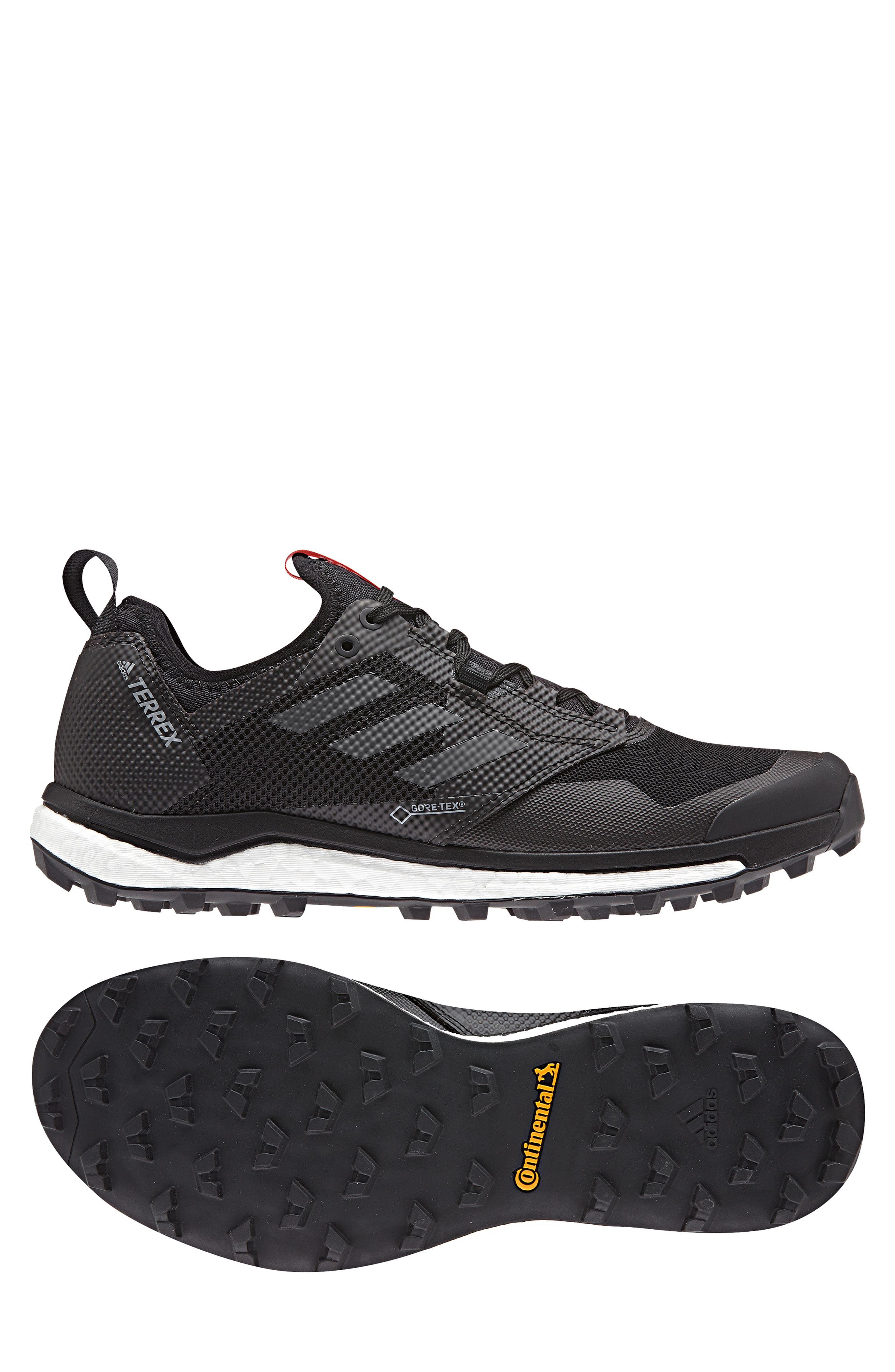 ,                             Terrex Agravic XT Gore-Tex<sup>®</sup> Waterproof Trail Running Shoe,                             Alternate thumbnail 10, color,                             BLACK/ GREY/ HI-RES RED