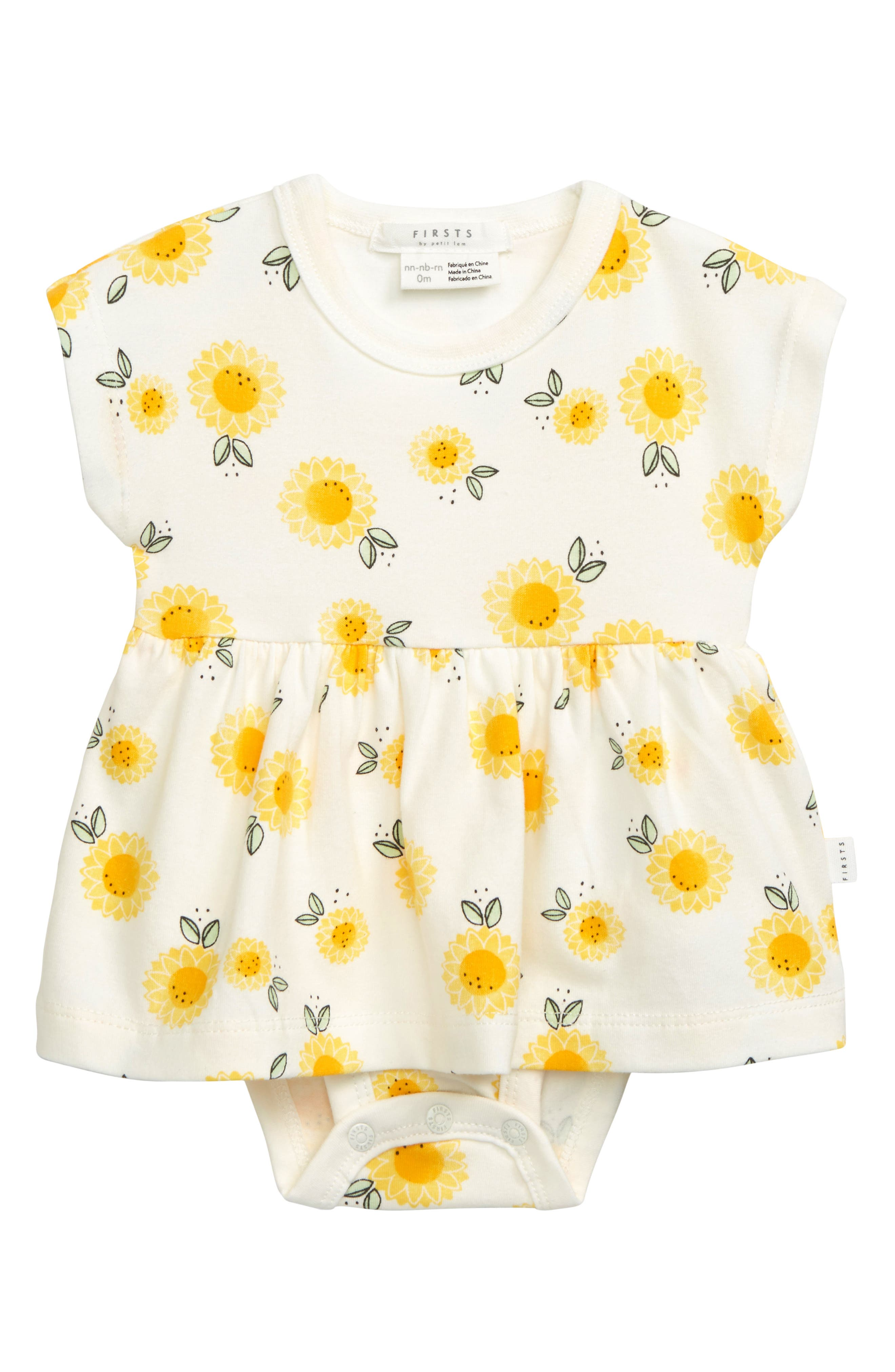 Your sweet sunshine will simply beam in this adorable short-sleeve skirted bodysuit alive with bright flowers. Style Name: Petit Lem Skirted Bodysuit. Style Number: 6063663. Available in stores.