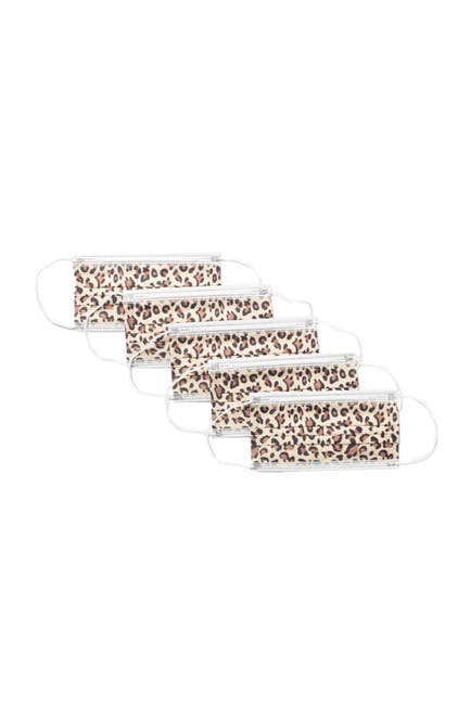 Image of Global Supply Industries Disposable Leopard Face Mask - Pack of 25