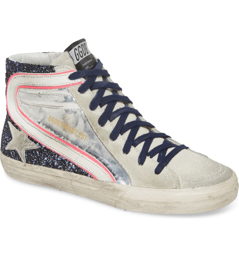 GOLDEN GOOSE Slide High Top Sneaker, Main, color, BLUE GLITTER