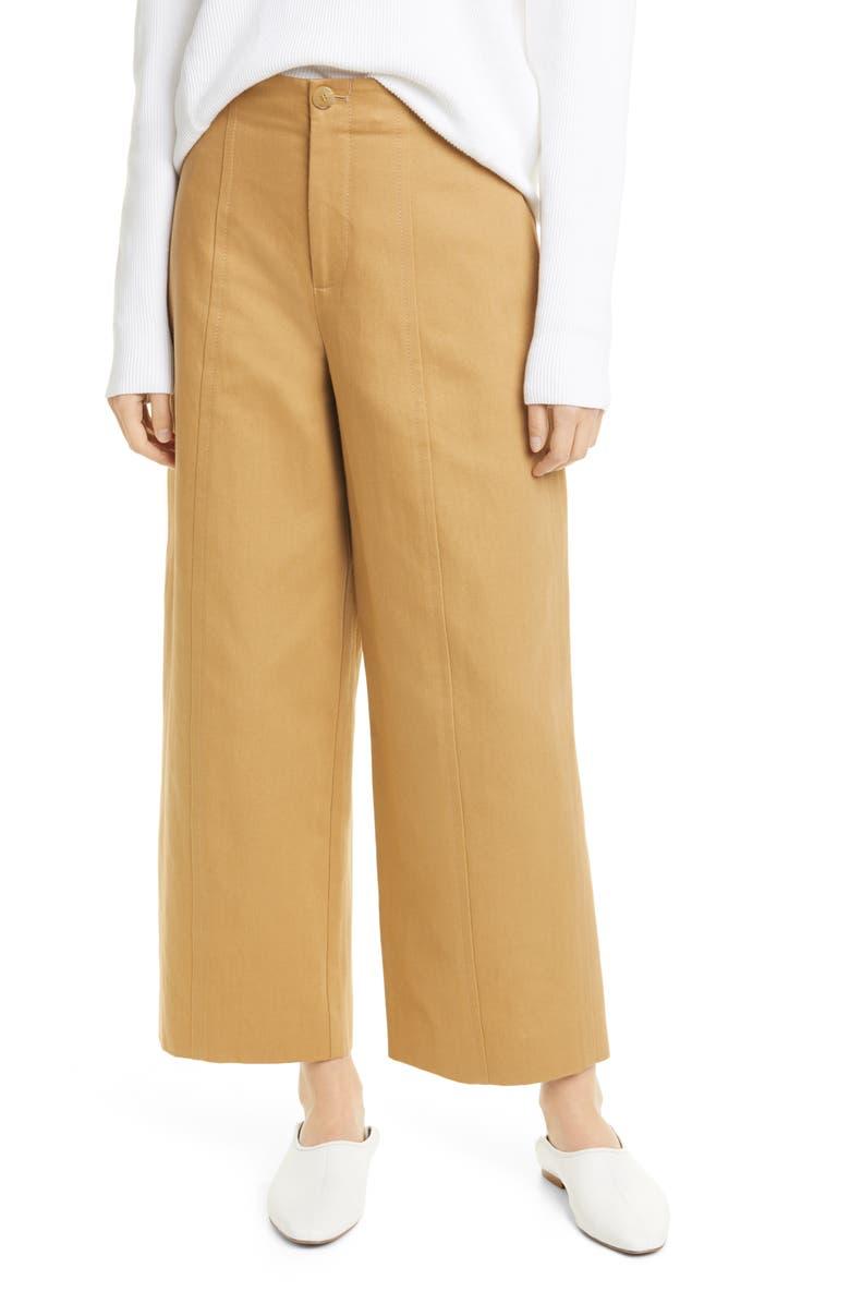 VINCE High Waist Cotton & Linen Utility Pants, Main, color, 200