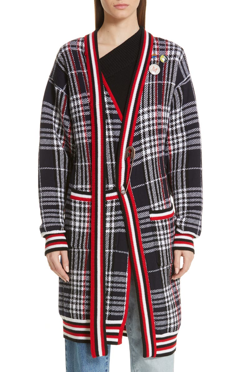 MONSE Tie Neck Longline Plaid Wool Cardigan, Main, color, BLACK PLAID