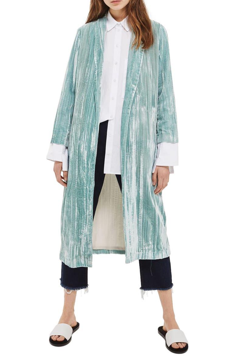 TOPSHOP Velvet Duster Coat, Main, color, 330
