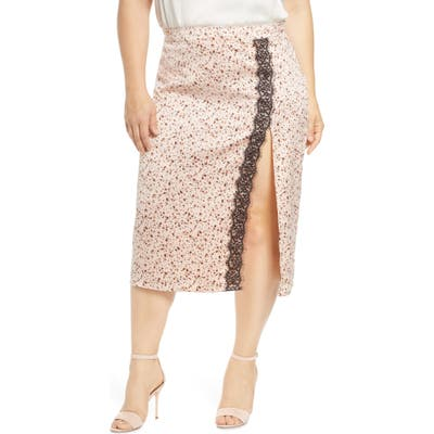 Plus Size Leith Lace Trim Skirt, Pink