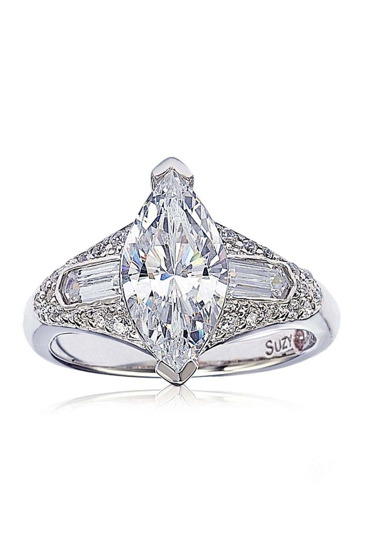 Suzy Levian Sterling Silver Marquise White CZ Ring at Nordstrom Rack