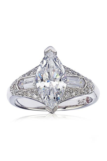 Image of Suzy Levian Sterling Silver Marquise White CZ Ring