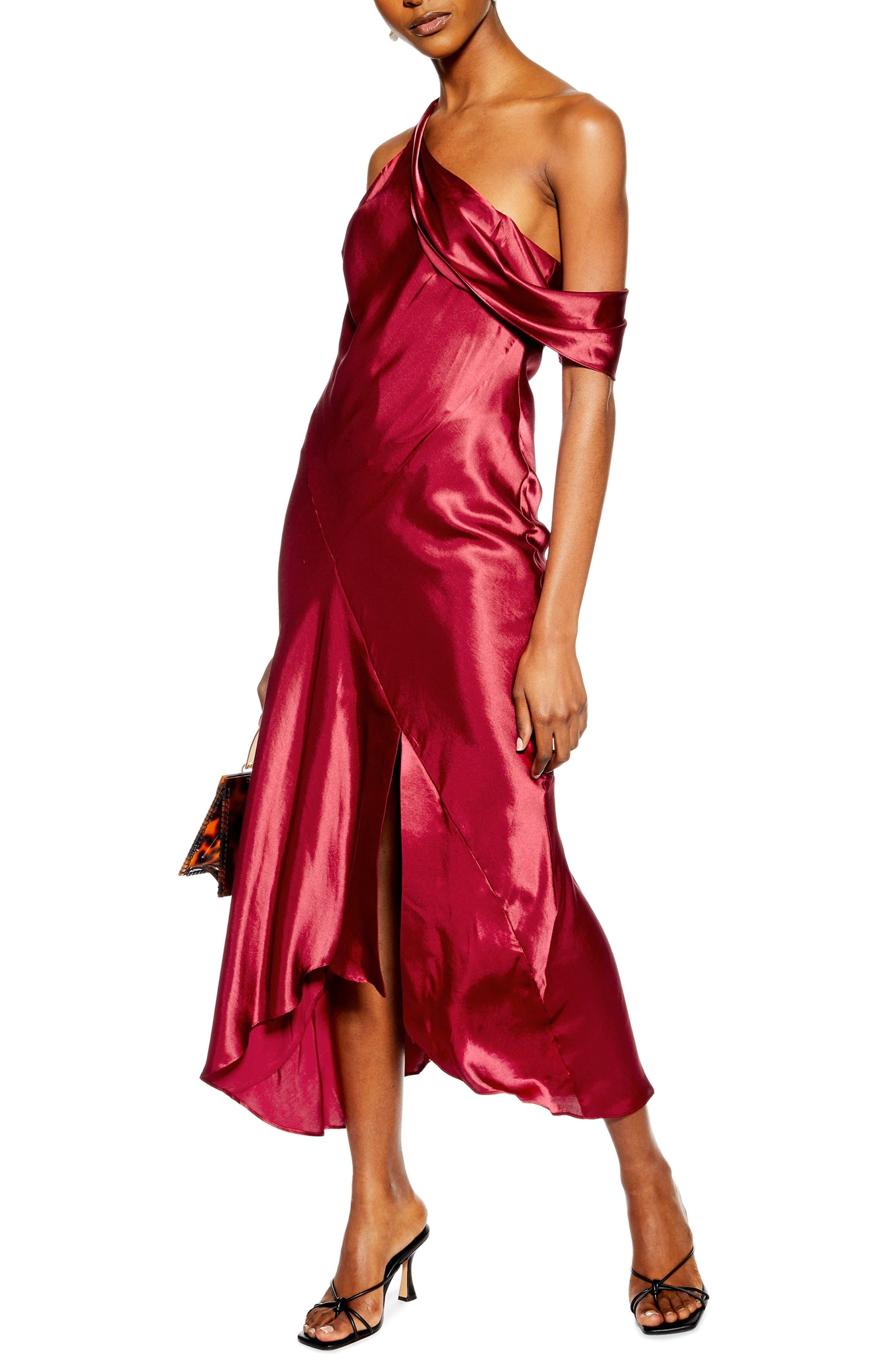 Topshop Asymmetrical Midi Dress, US (fits like 0-2) - Red