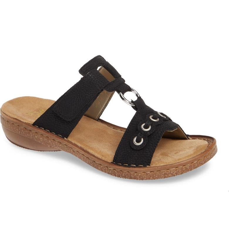 RIEKER ANTISTRESS Regina 98 Slide Sandal, Main, color, BLACK FAUX LEATHER