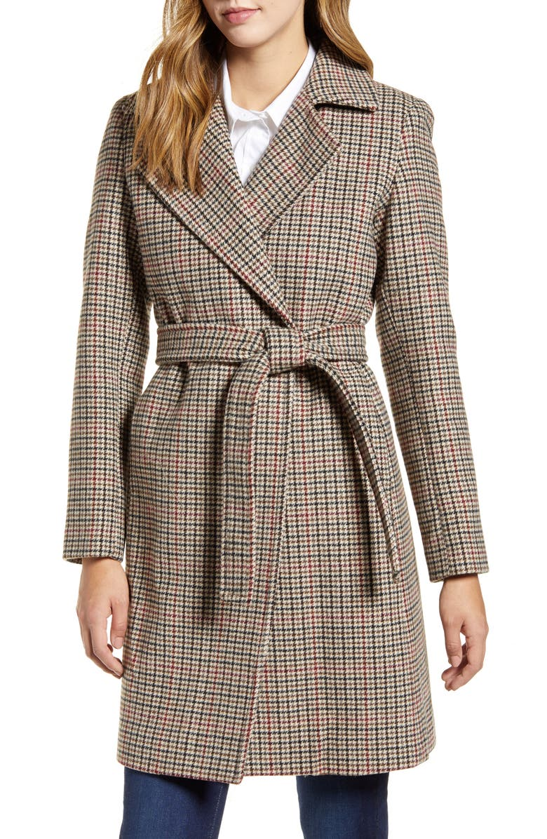 COLE HAAN Wool Blend Coat, Main, color, MULTI HOUNDSTOOTH