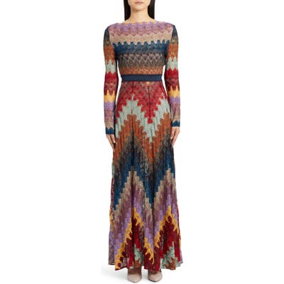 Missoni Metallic Zigzag Long Sleeve Knit Gown, US / 44 IT - Blue