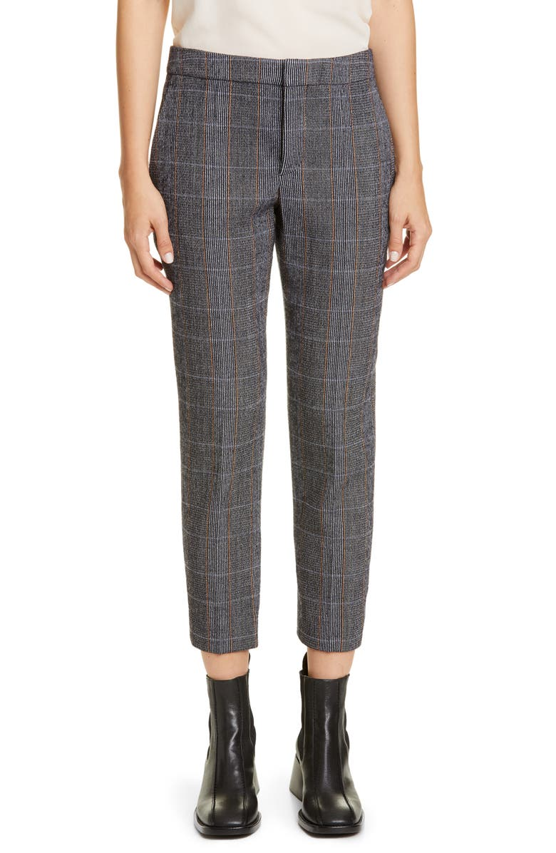 CHLOÉ Checked Stretch Wool Crop Pants, Main, color, MINIMAL GREY