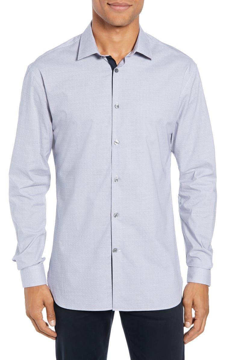 JOHN VARVATOS STAR USA Slim Fit Stretch Check Dress Shirt, Main, color, INDIGO