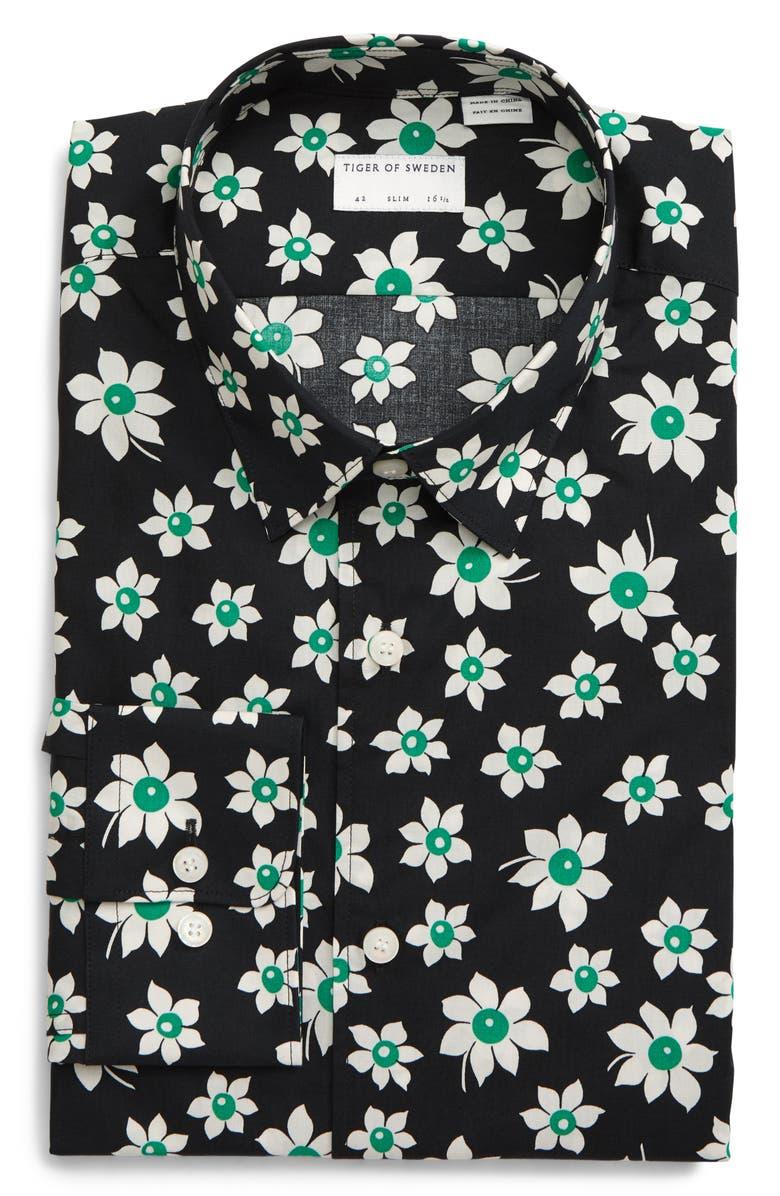 TIGER OF SWEDEN Slim Fit Floral Dress Shirt, Main, color, BLACK