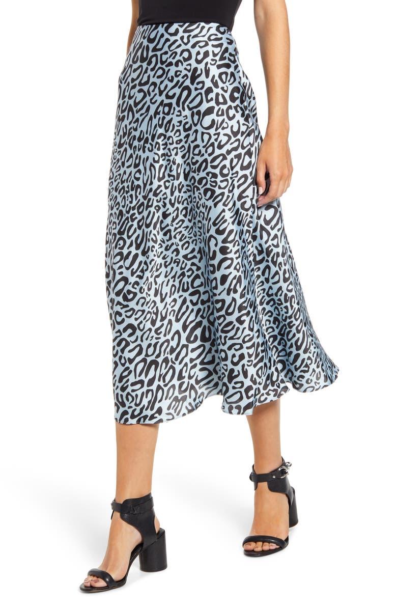 REBECCA MINKOFF Davis Leopard Print Midi Skirt, Main, color, 458
