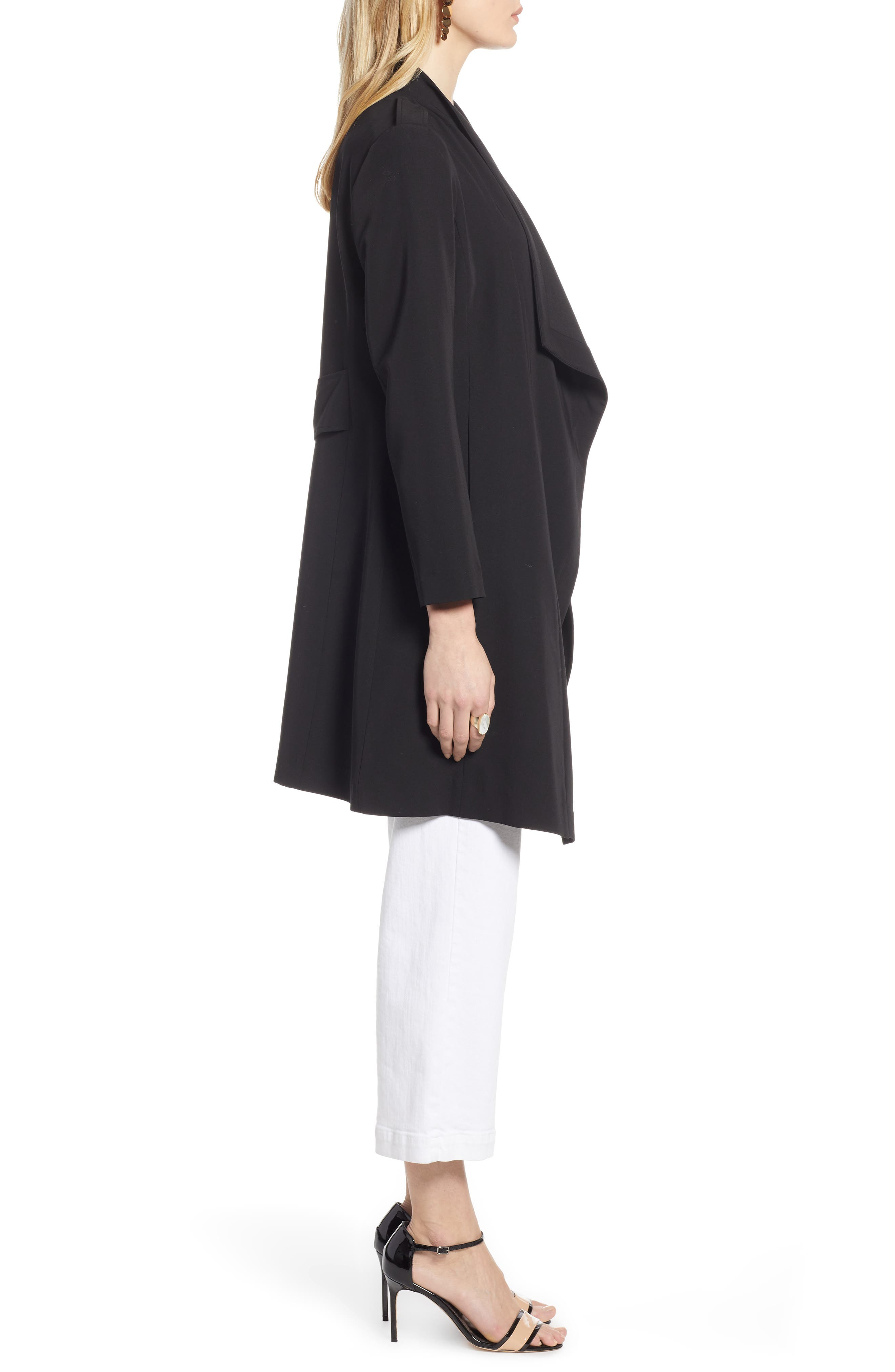,                             Drape Front Lightweight Jacket,                             Alternate thumbnail 5, color,                             BLACK