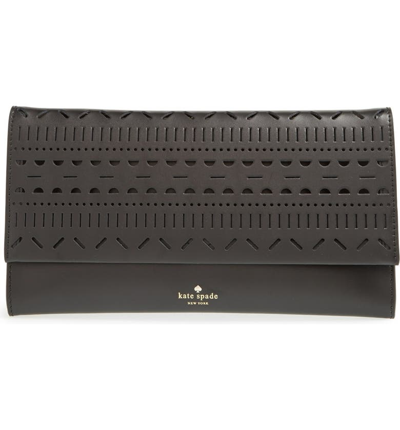 KATE SPADE NEW YORK 'lillian court - neva' leather envelope clutch, Main, color, 001