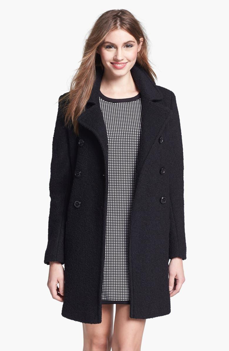 DKNY Double Breasted Bouclé Coat, Main, color, 001