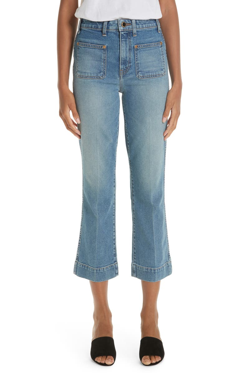 KHAITE Raquel Crop Flare Jeans, Main, color, VINTAGE BLUE