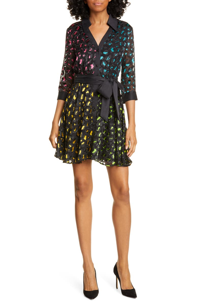 ALICE + OLIVIA Raja Leopard Print Burnout Belted Minidress, Main, color, ABSTRACT LEOPARD TEAL/ COMBO