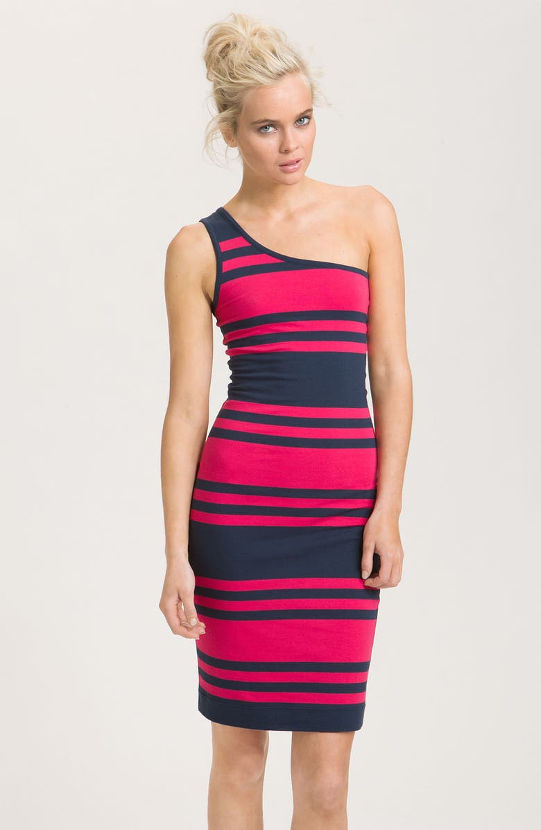 FRENCH CONNECTION Stripe Jersey One Shoulder Sheath Dress, Main, color, 651