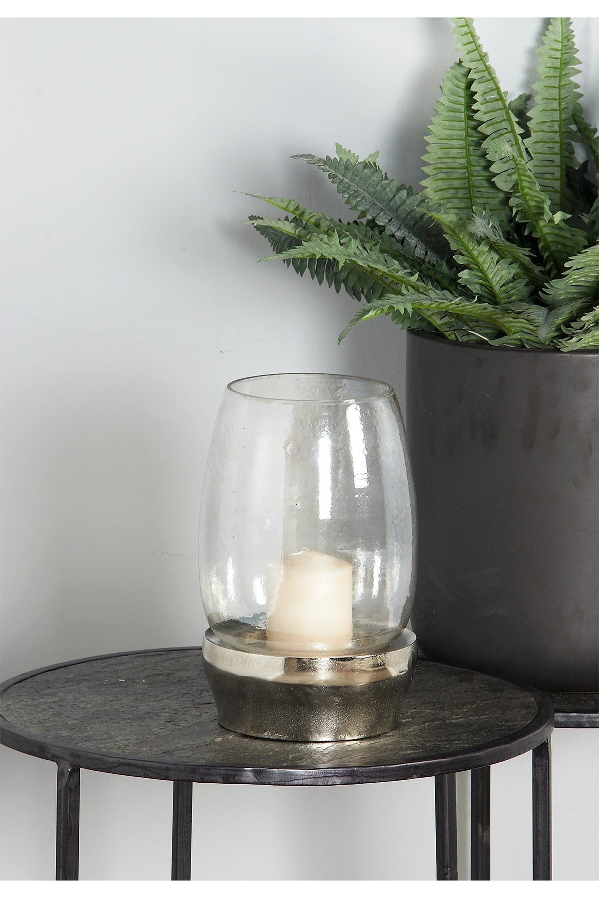 Image of CosmoLiving by Cosmopolitan Large Round Modern Silver Hurricane Glass Candle Holder