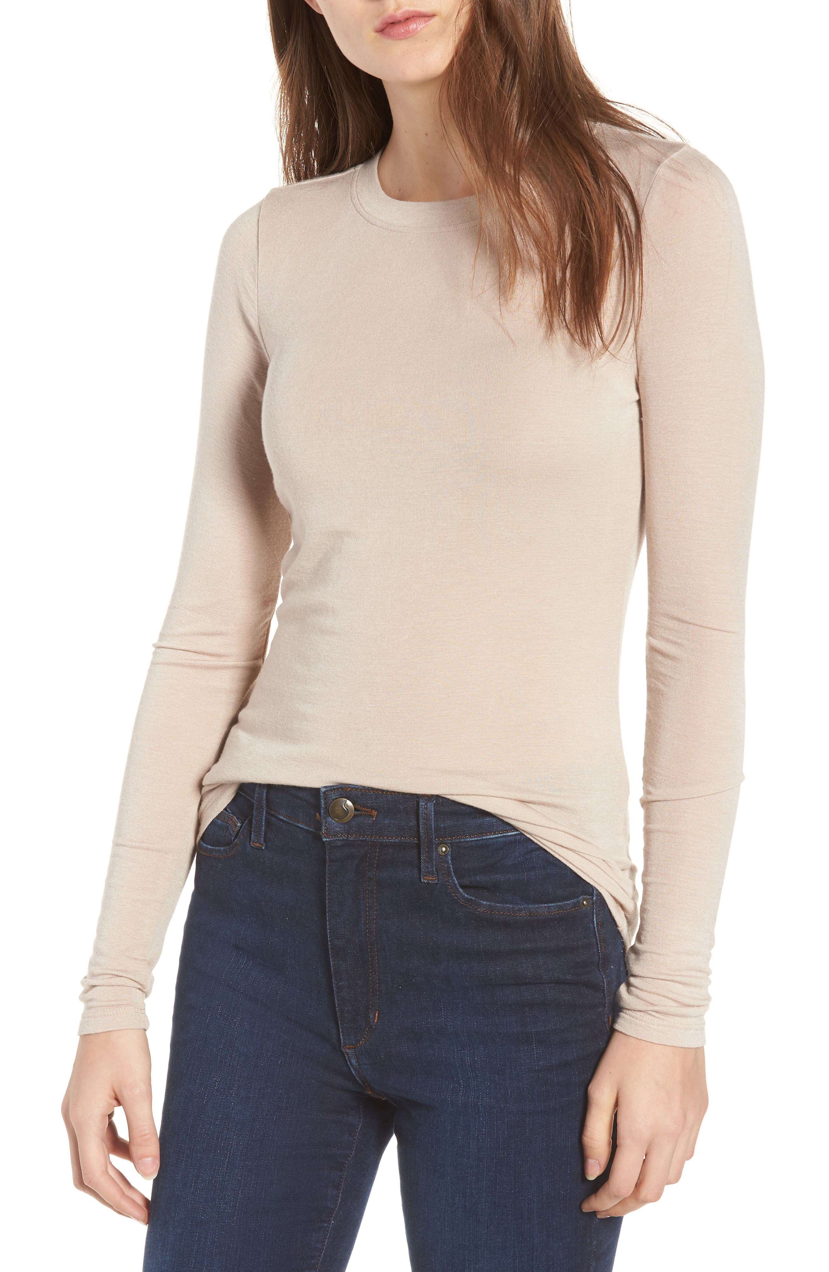 A stretchy modal blend lends definition to a semi-sheer long-sleeve tee that is ideal for cold-weather layering or standalone casual wear when the sun comes out. Style Name: Chelsea28 Layering Tee. Style Number: 729588. Available in stores.