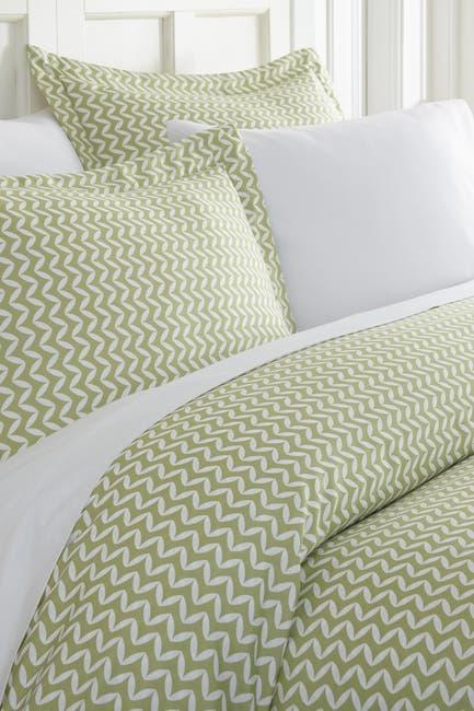 Image of IENJOY HOME Home Spun Premium Ultra Soft 2-Piece Puffed Chevron Print Duvet Cover Twin Set - Sage