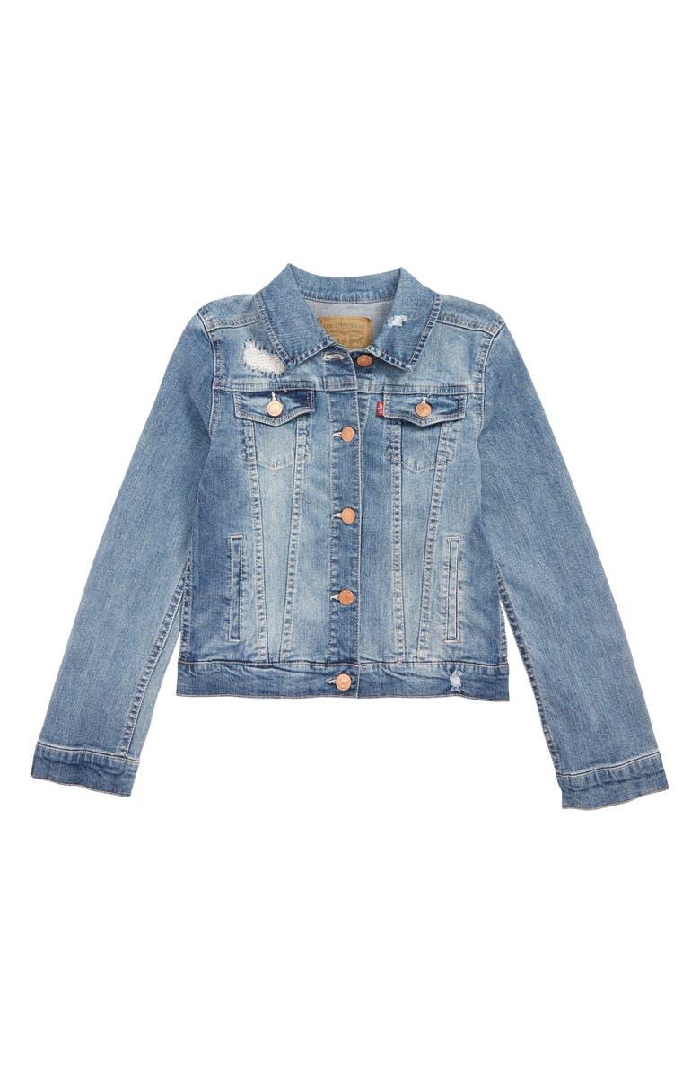 LEVI'S<SUP>®</SUP> Levi's Denim Trucker Jacket, Main, color, WEATHERED INDIGO