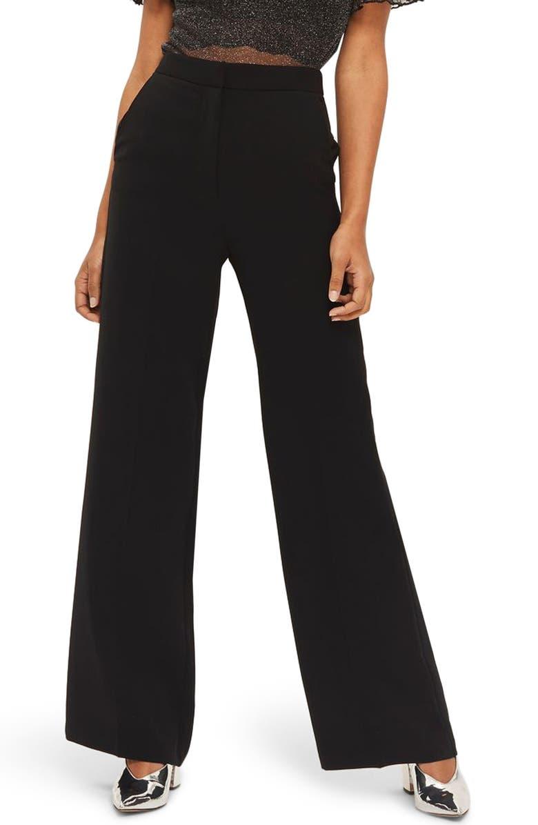 TOPSHOP High Waist Wide Leg Trousers, Main, color, 001