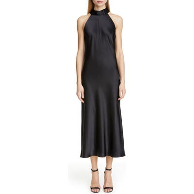 Galvan Satin Halter Neck Dress, Black
